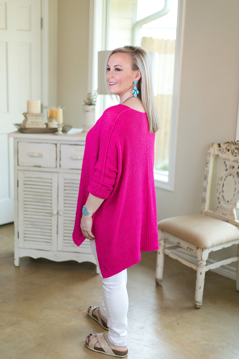 With All My Heart Oversized Sweater in Hot Pink