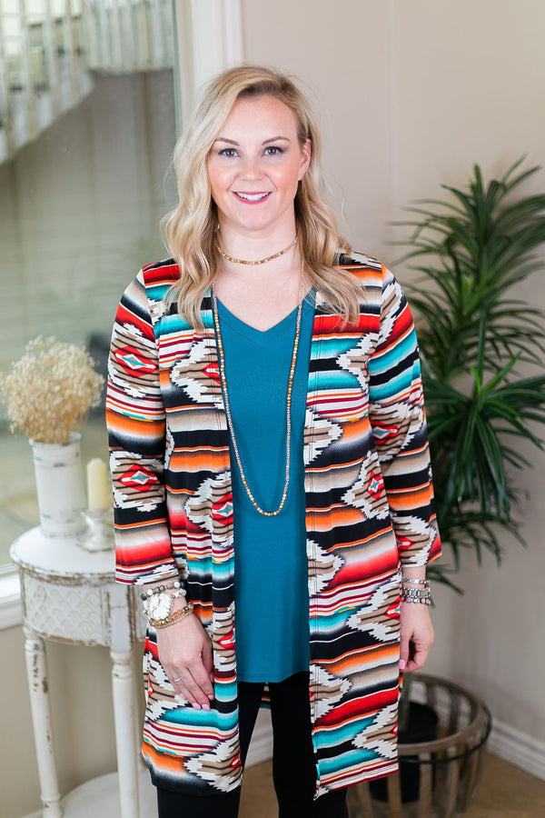 All Eyes On You Aztec Print Cardigan in Red and Turquoise