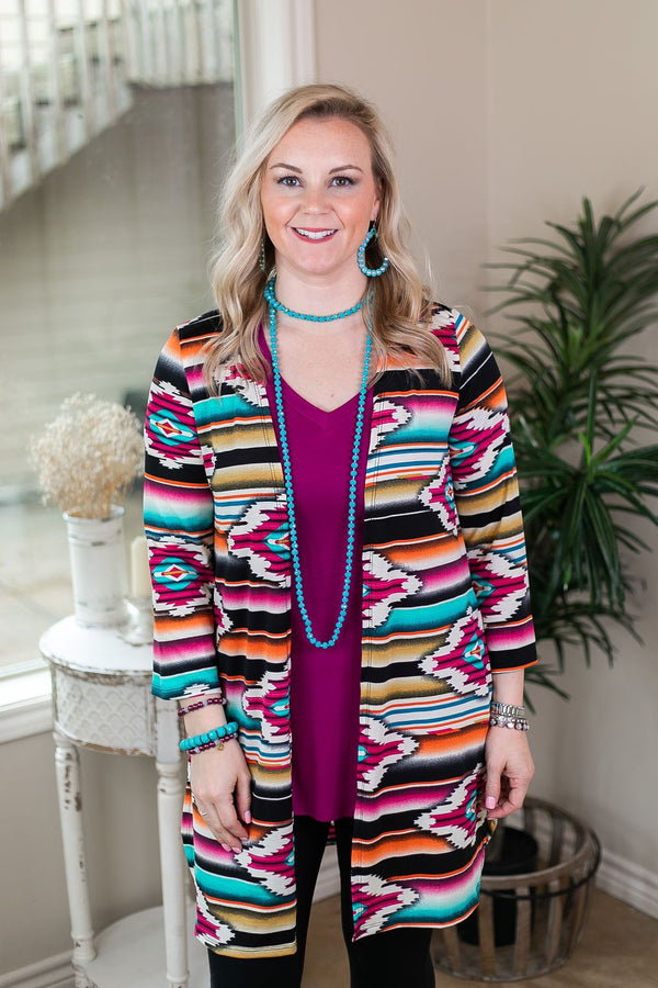 All Eyes On You Aztec Print Cardigan in Magenta and Gold pink and yellow and turquoise cardigan