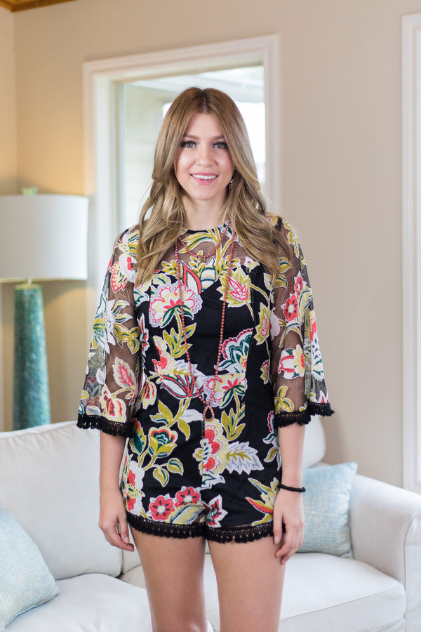 Moments with You Floral Romper with Tassel Trim in Black