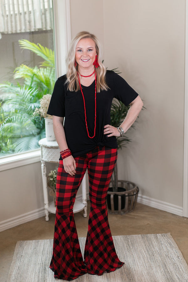 Light My Fire Buffalo Plaid Bell Bottom Flare Pants in Red