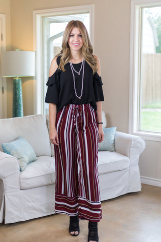Waiting on Promises Striped Trouser Pants in Maroon