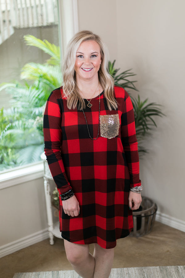Making Spirits Bright Buffalo Plaid Print Dress with Sequin Pocket in Red