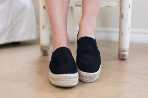 Trust Your Path Suede Platform Espadrille Flats in Black