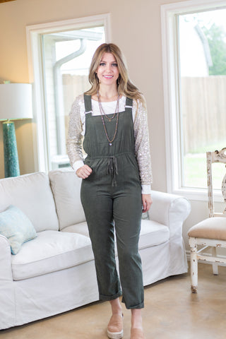 Set Yourself Free Suede Overalls in Olive Green