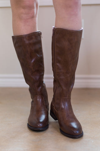 Go My Own Path Riding Boots in Tan Brown