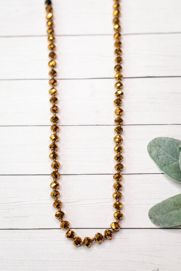 36 Inch Long Layering 8mm Crystal Strand Necklace in Dark Gold