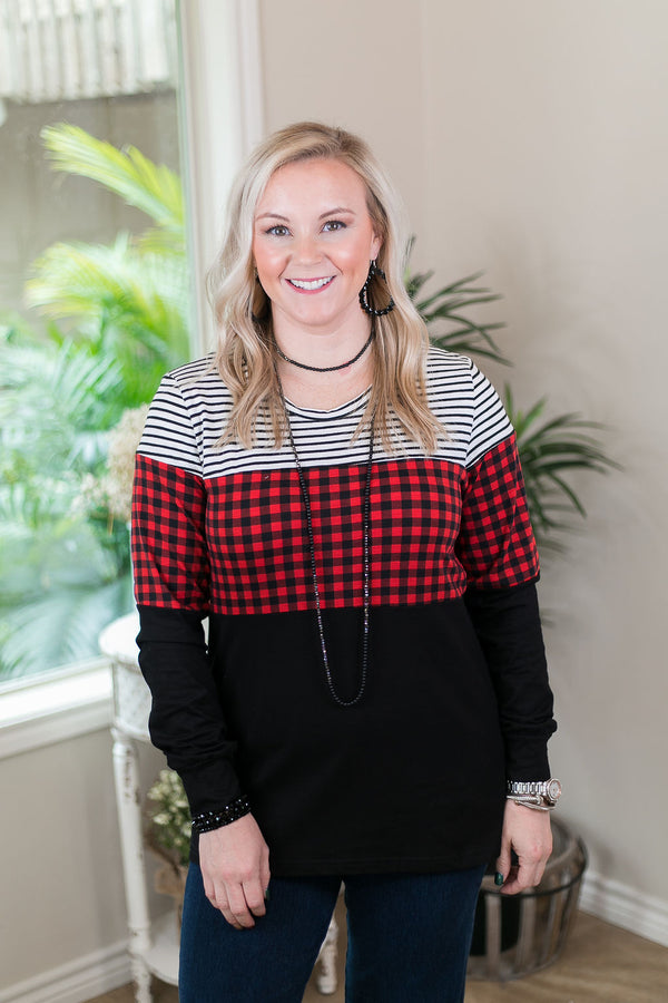 Make Certain Stripe & Buffalo Plaid Long Sleeve Color Block Top