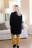 All Day Long Chenille Cardigan in Black