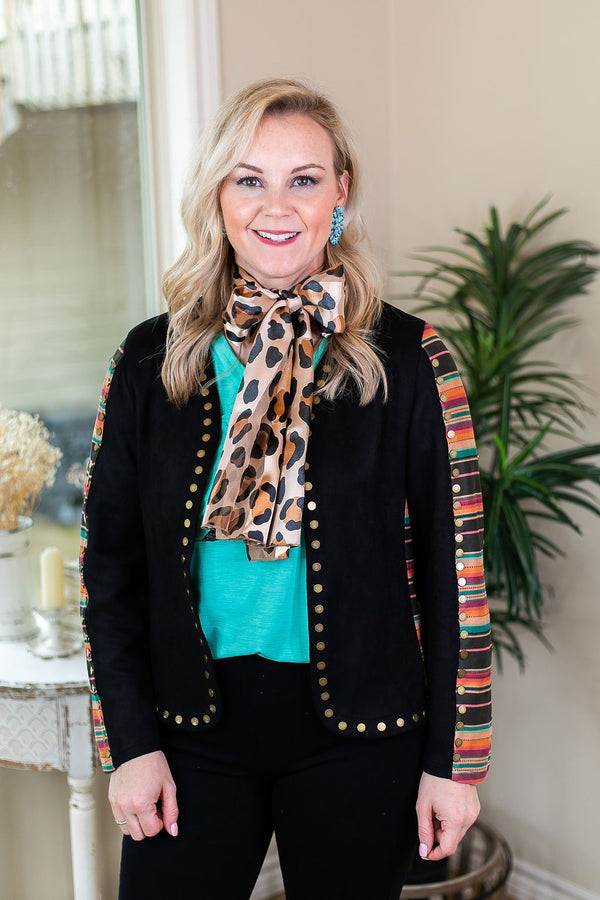 Gold Stud Cowboy Black Suede Jacket with Serape Sleeves