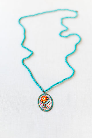 Pink Panache Long Turquoise Necklace with Large Turquoise Oval with Aztec Inlay and AB Crystals