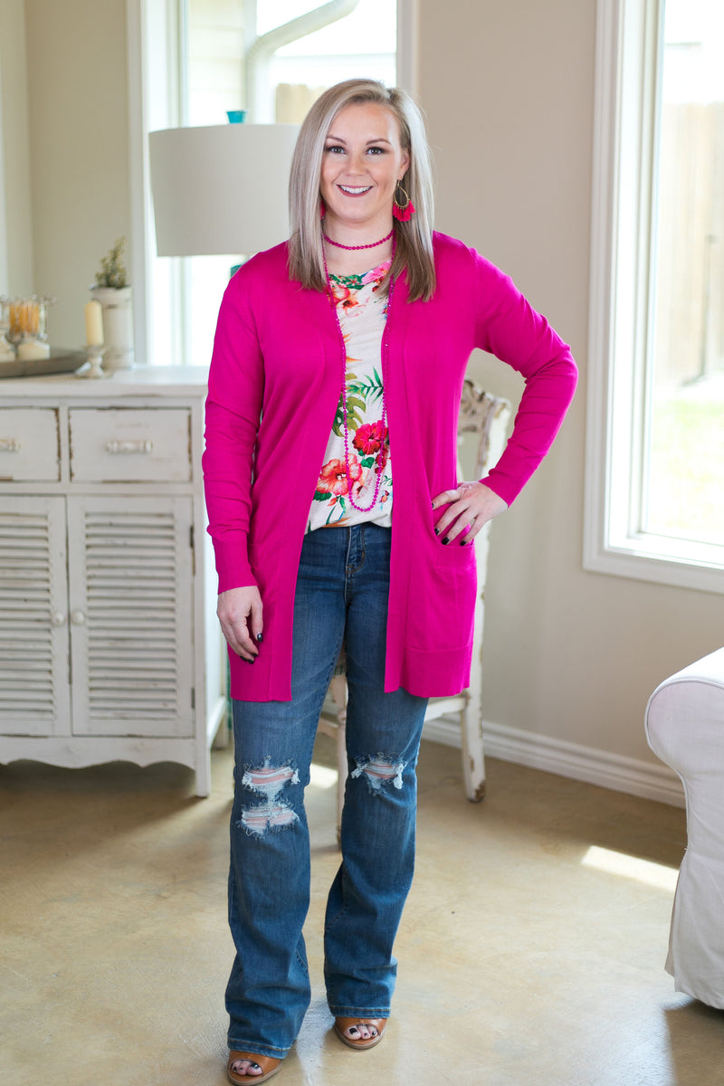 Beat The Chill Basic Knit Cardigan in Hot Pink