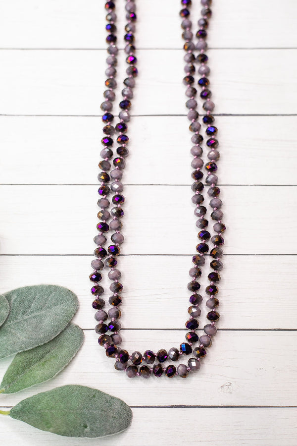 60 Inch Long Layering 8mm Crystal Strand Necklace in Purple AB Crystal