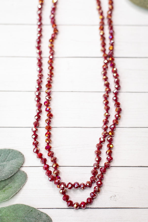 60 Inch Long Layering 8mm Crystal Strand Necklace in AB Burgundy