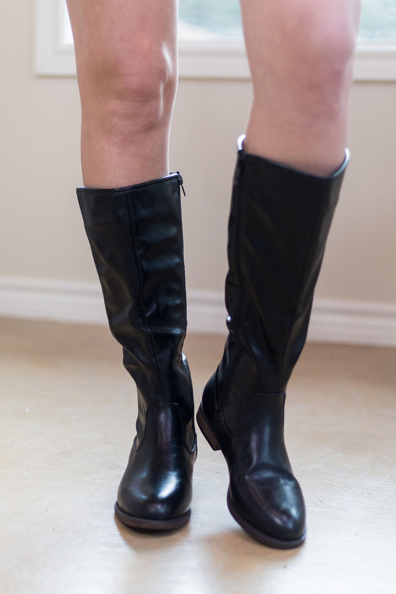 Knee high riding boots Macy's outfit short legs tall leather for women boutique black
