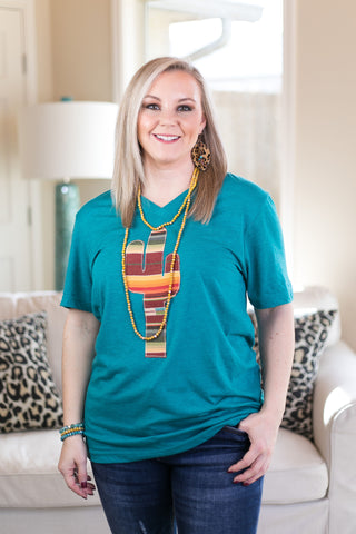 The Wild West Serape Cactus V Neck Tee Shirt in Teal Tri Blend
