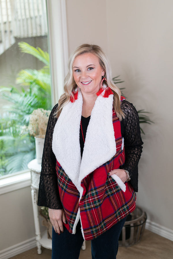 Cozy On Up Super Soft Tartan Plaid Sherpa Lined Sweater Vest in Red