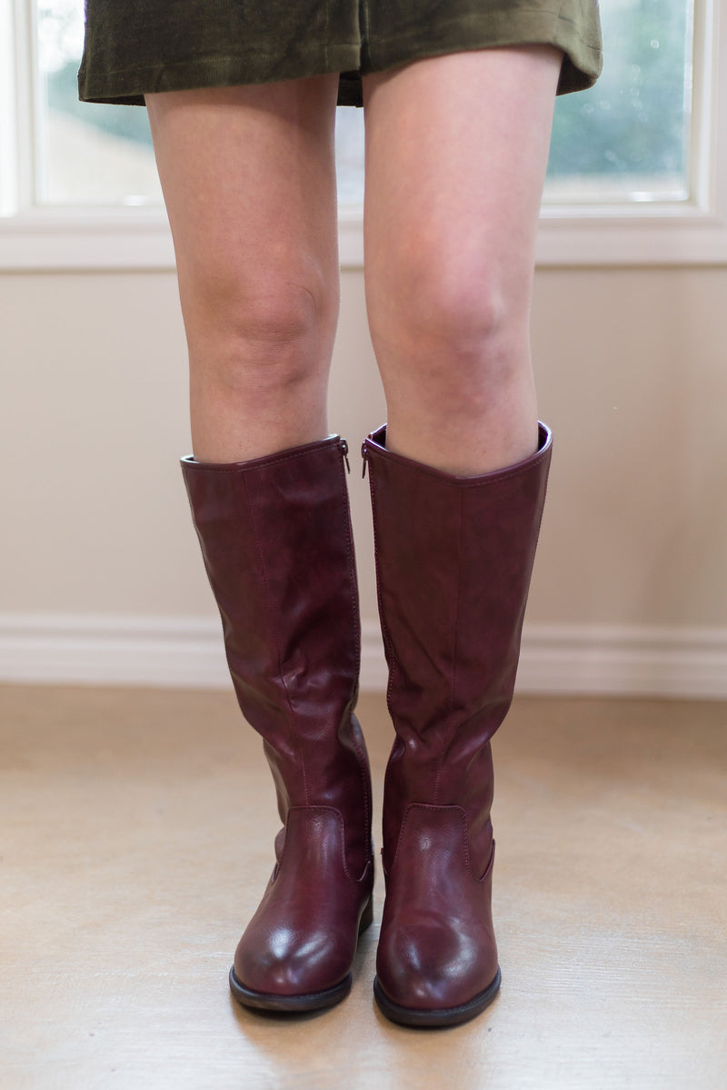 Knee high riding boots Macy's outfit short legs tall leather for women boutique maroon wine burgundy gameday