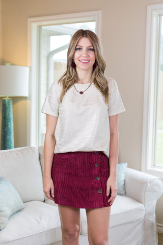 Find The Answers Button Up Corduroy Skirt in Maroon