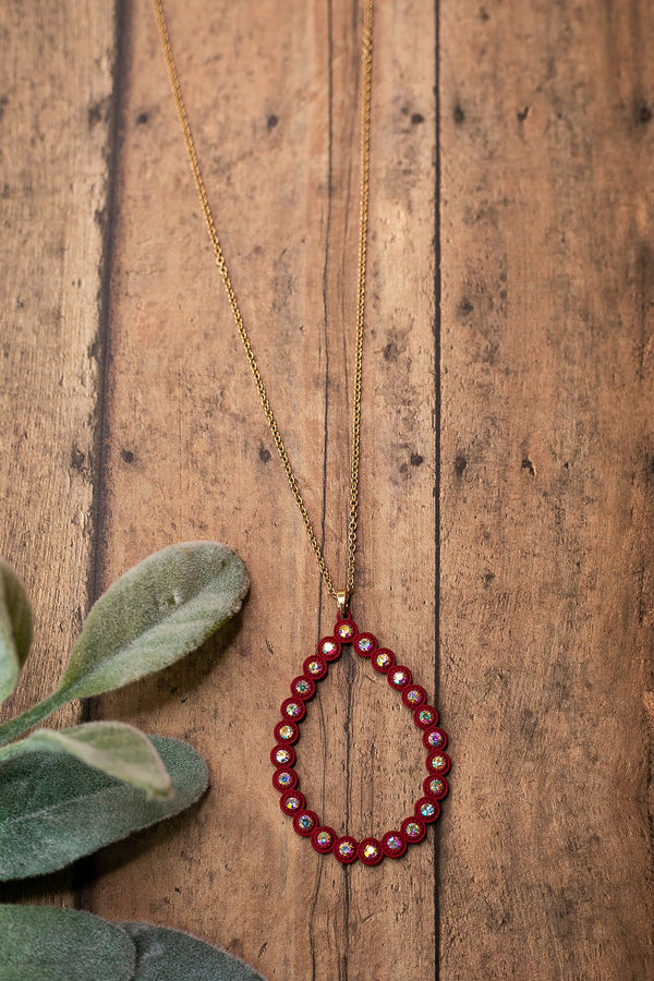 Burgundy Teardrop Pendant Necklace with AB Crystal Studs