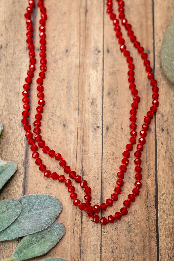 60 Inch Long Layering 8mm Crystal Strand Necklace in Red