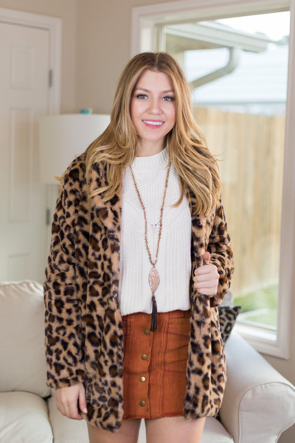 Want Need Love Faux Fur Jacket in Leopard