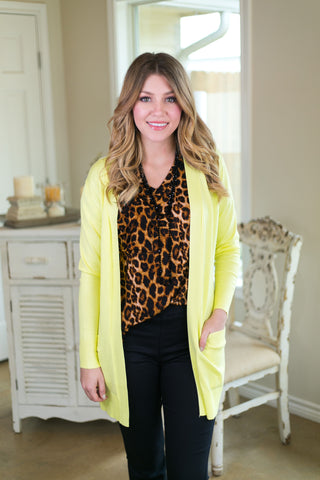 Beat The Chill Basic Knit Cardigan in Lemon Yellow