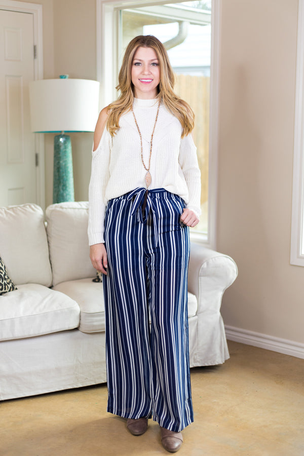 Out Of Line Stripe Wide Leg Pants in Navy Blue