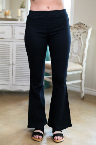 Around Again Flare Bell Bottom Pants with Elastic Waistband in Black