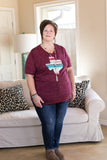 Blame It On Texas Serape V Neck Tee Shirt in Maroon Marble
