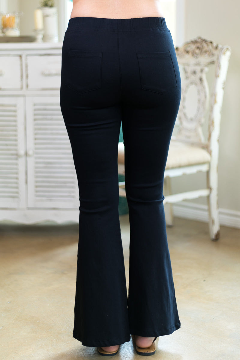 around again umgee missy Women's trendy plus size boutique clothing affordable bell bottom flare pants jeans bells black