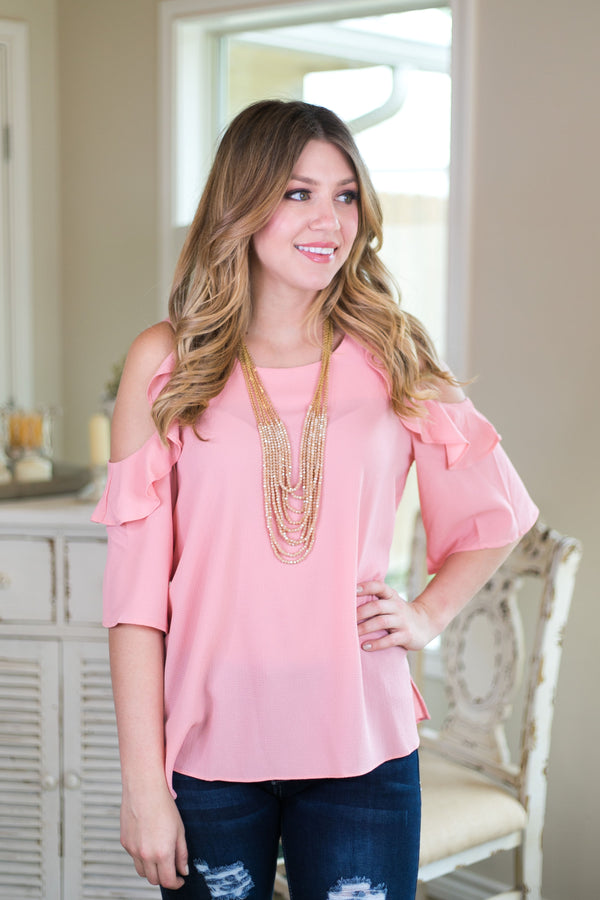 stylish surprise Women's trendy plus size boutique clothing solid ruffle cold shoulder shirt top blouse affordable umgee light pink dusty rose