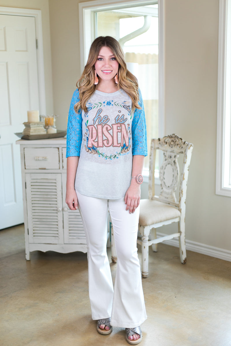 Easter graphic tee baseball top lace sleeves southern grace boutique trendy holiday christian based tees He is risen christ God