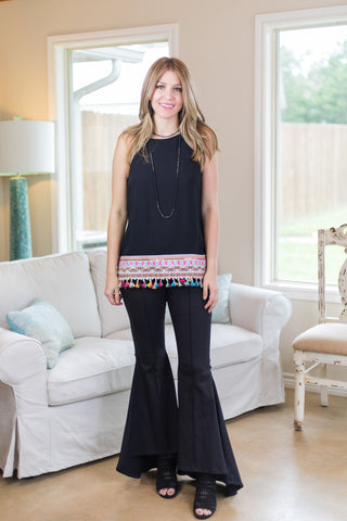 Belle of the Ball High Low Flare Bell Bottoms in Black