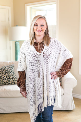 Happiness is Key Poncho Top in Ivory