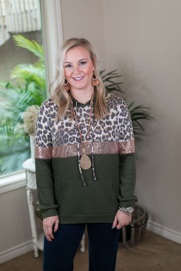 24/7 Glam Thermal Waffle Hoodie with Sequins and Leopard in Olive Green