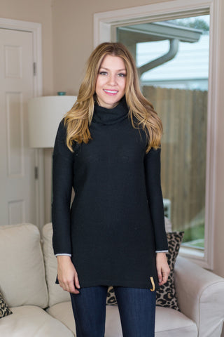 Be There For Warmth Cowl Neck Sweater in Black