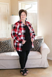 Small Town Love Plaid Flannel Button Up Shirt in Red, Black and White