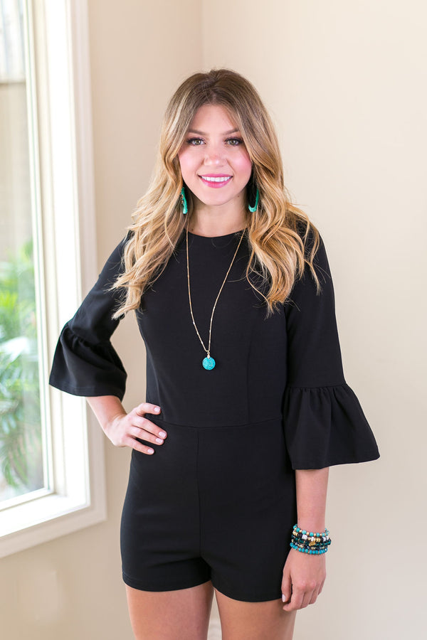 Keep On Dazzling Bell Sleeve Romper in Black