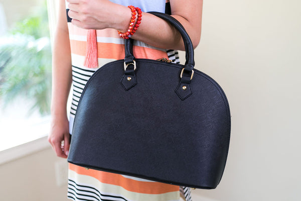 Designer Inspired Large Dome Satchel in Black