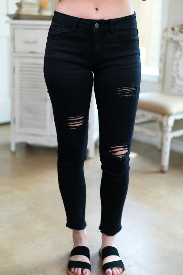 L&B denim blue jeans mid rise distressed skinny jeans ankle black trendy boutique apparel clothing plus size missy women's