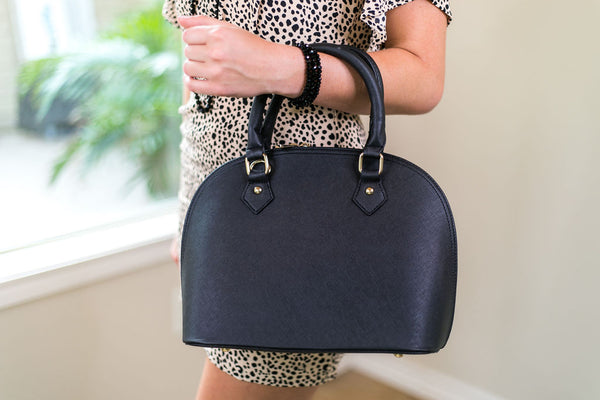 Designer Inspired Medium Dome Satchel in Black