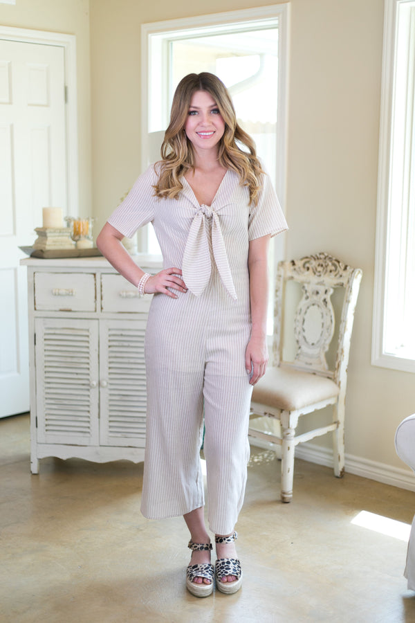 hint at perfection Women's trendy missy boutique clothing affordable clothing jumper jumpsuit romper stripe taupe khaki bohemian
