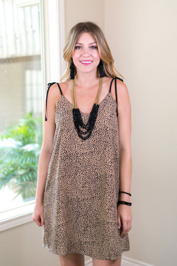 Perfect Tendencies Cami Dress with Shoulder Ties in Leopard