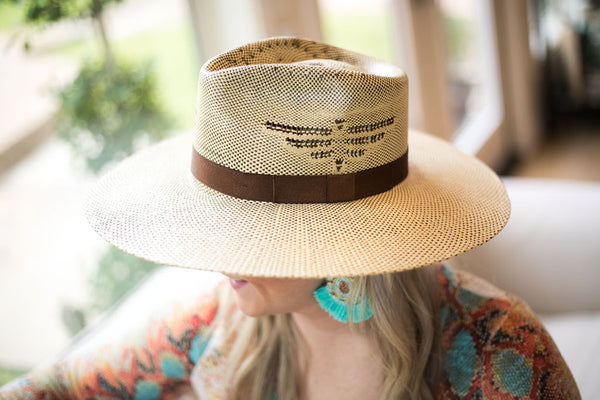 Charlie 1 Horse | Mexico Shore Straw Stiff Brim Hat with Thunderbird & Brown Band