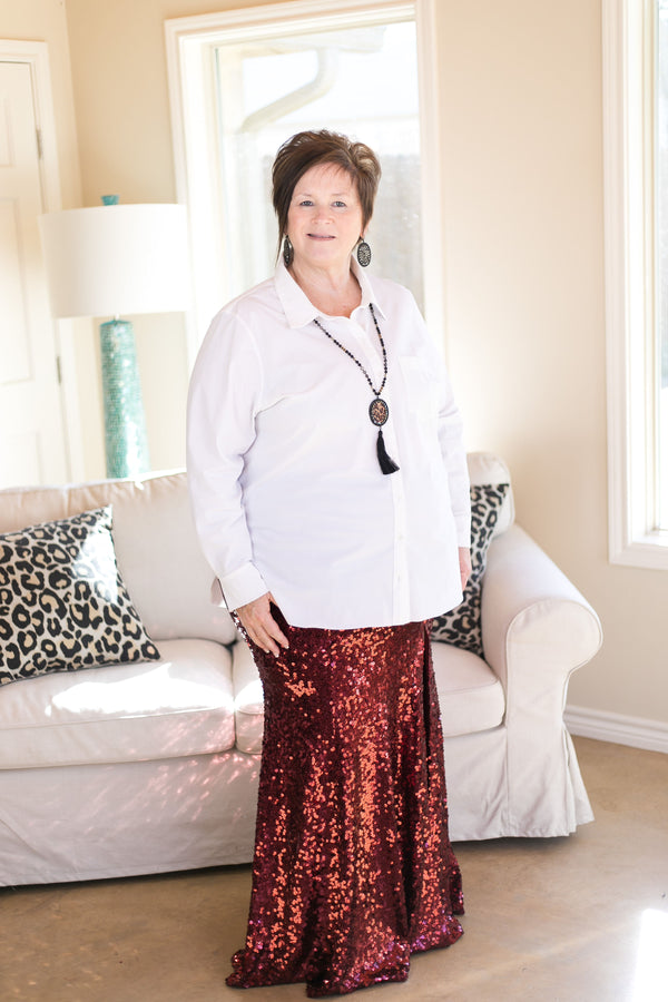 Leave a Little Sparkle Sequin Maxi Skirt with Side Slit in Maroon