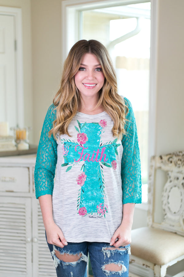 Adult: Faith Floral Cross Baseball Tee with Turquoise Crochet Sleeves