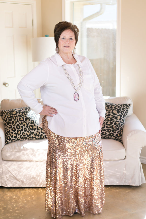 Leave a Little Sparkle Sequin Maxi Skirt with Side Slit in Rose Gold