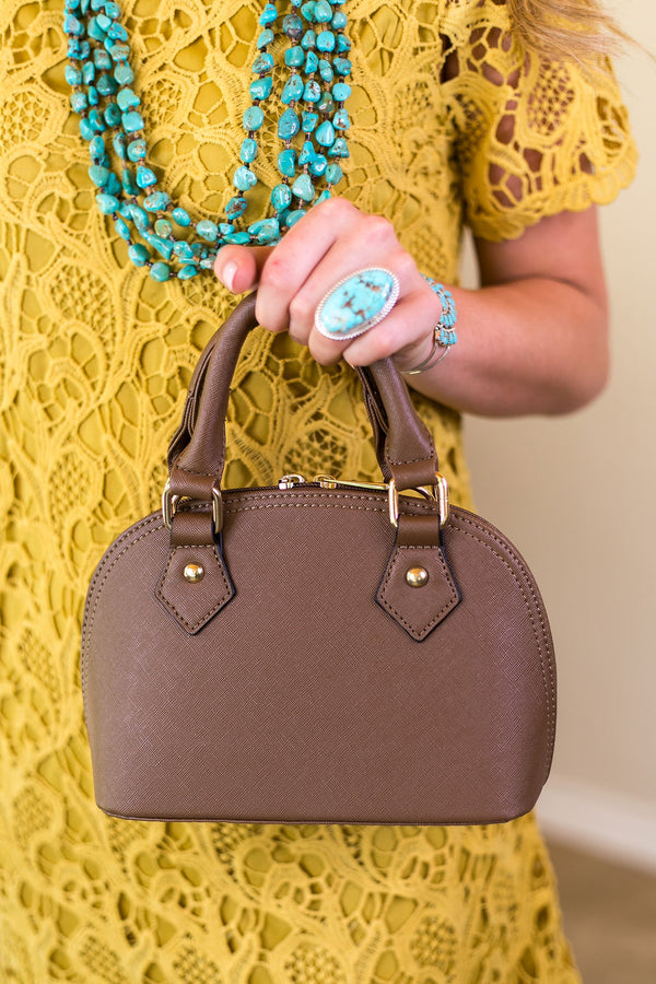 Designer Inspired Small Dome Satchel in Khaki