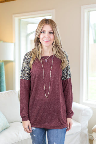 Known Too Well Long Sleeve Tee with Leopard Insets in Maroon